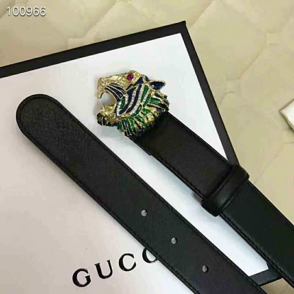 Gucci black Leather belt with tiger head