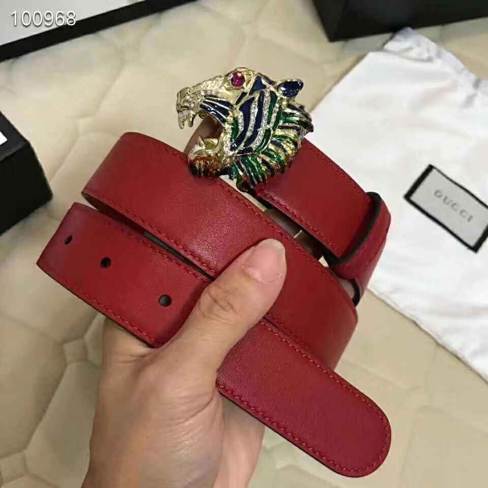 Gucci red leather belt with tiger head