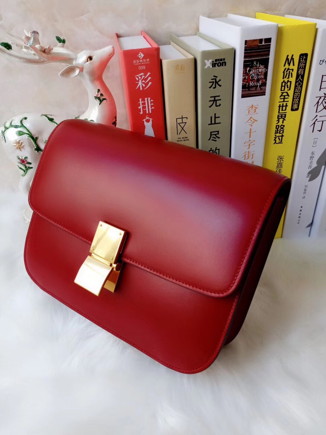 Celine red Classic bag in Red box calfskin - Red