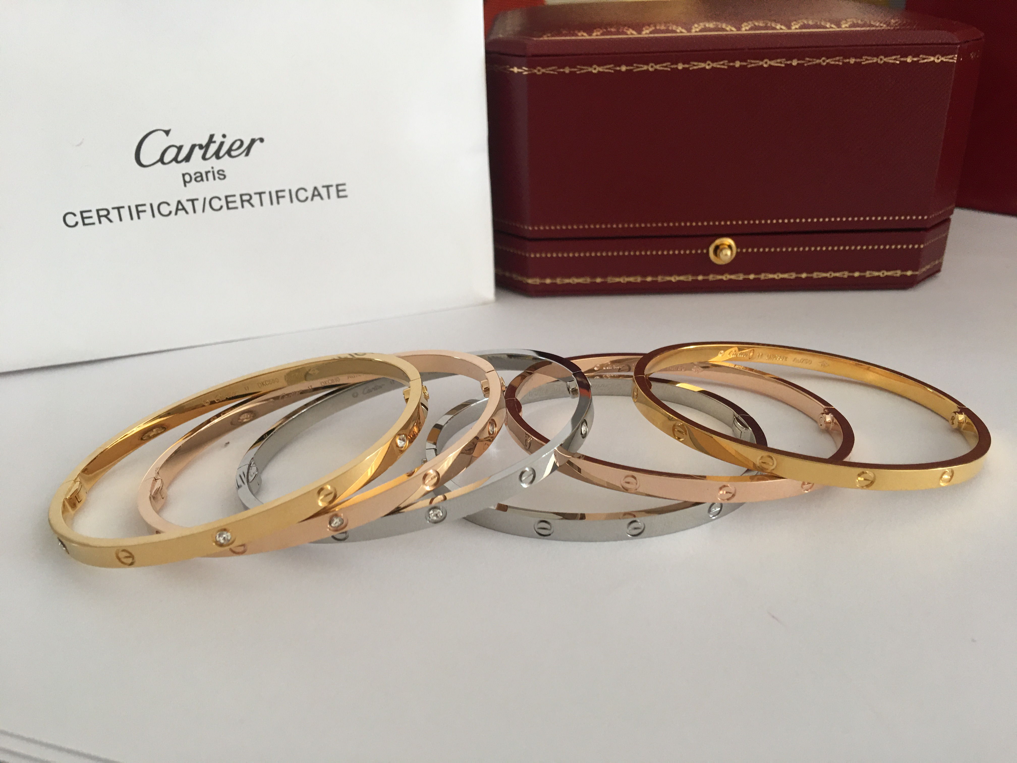 Diamond Cartier thin Love Bracelet Small size 16-19cm in yellow gold, white gold, pink gold