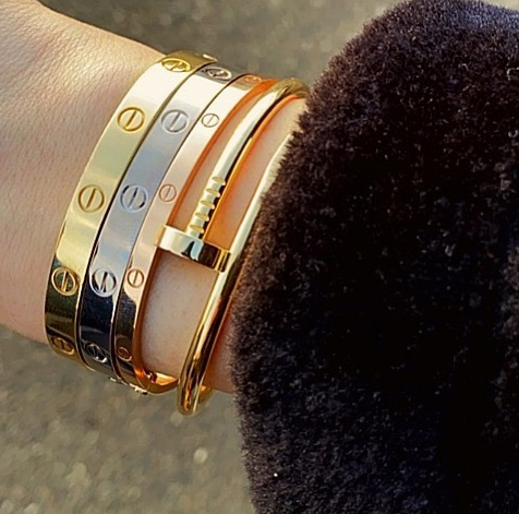 Stacking: Cartier thin & thick love bracelet and juste un clou bracelet yellow, white, pink gold