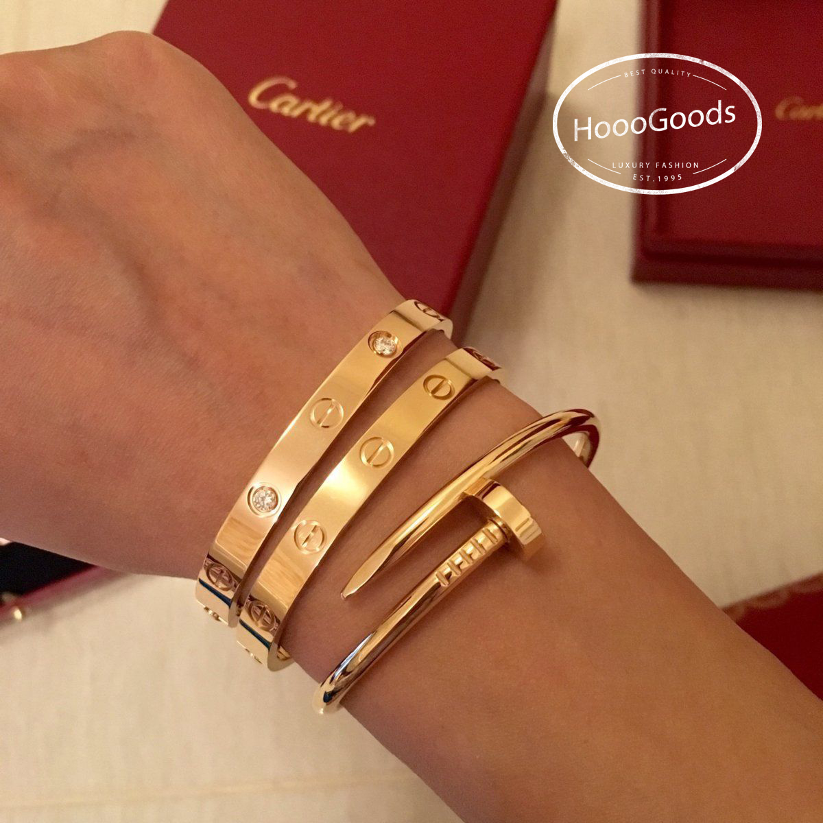 Cartier love bracelet stacking ideas with Cartier juste un clou bracelet/nail bangle