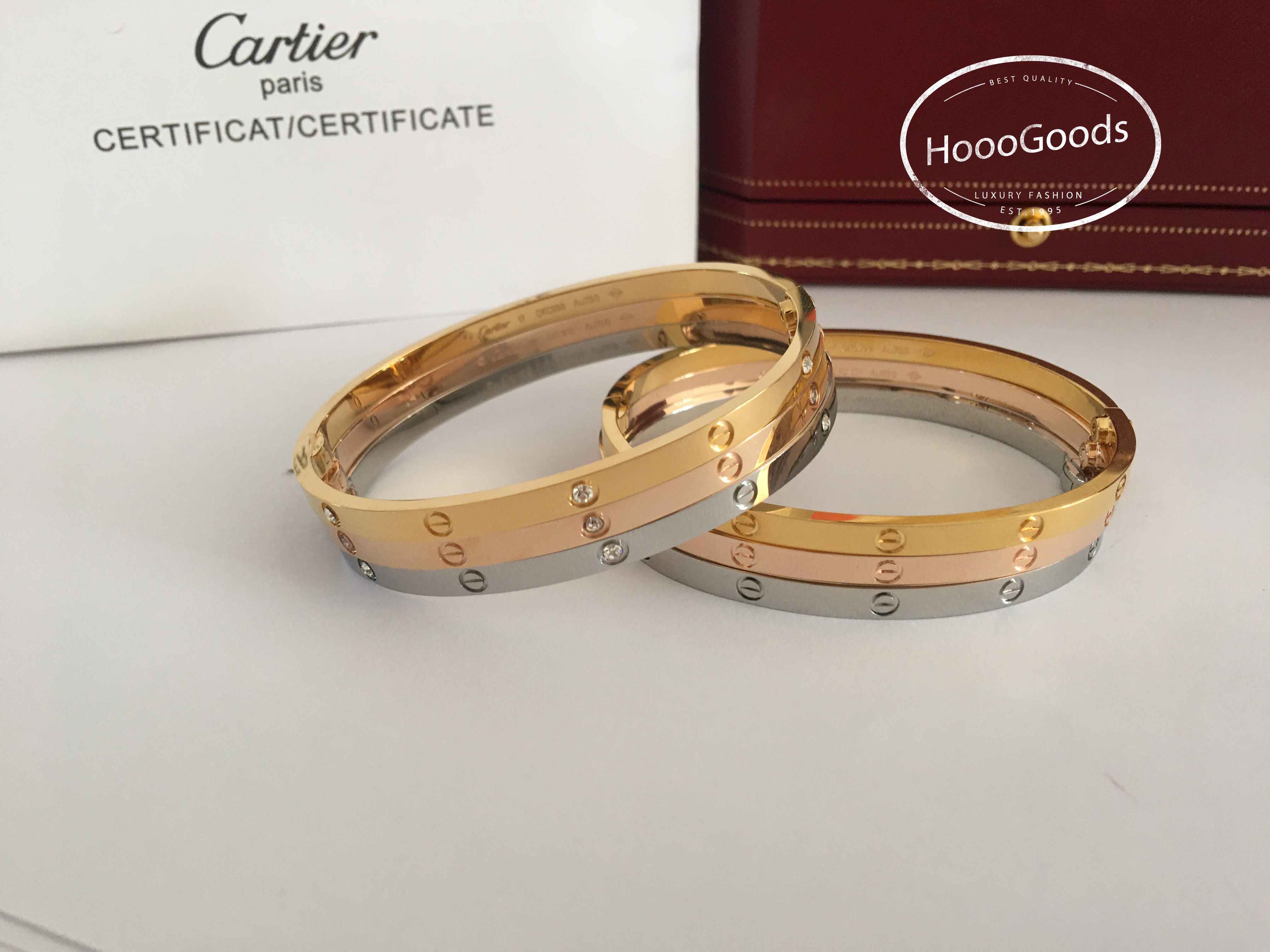 Cartier thin love bracelet diamonds and no diamond in white, pink, yellow gold