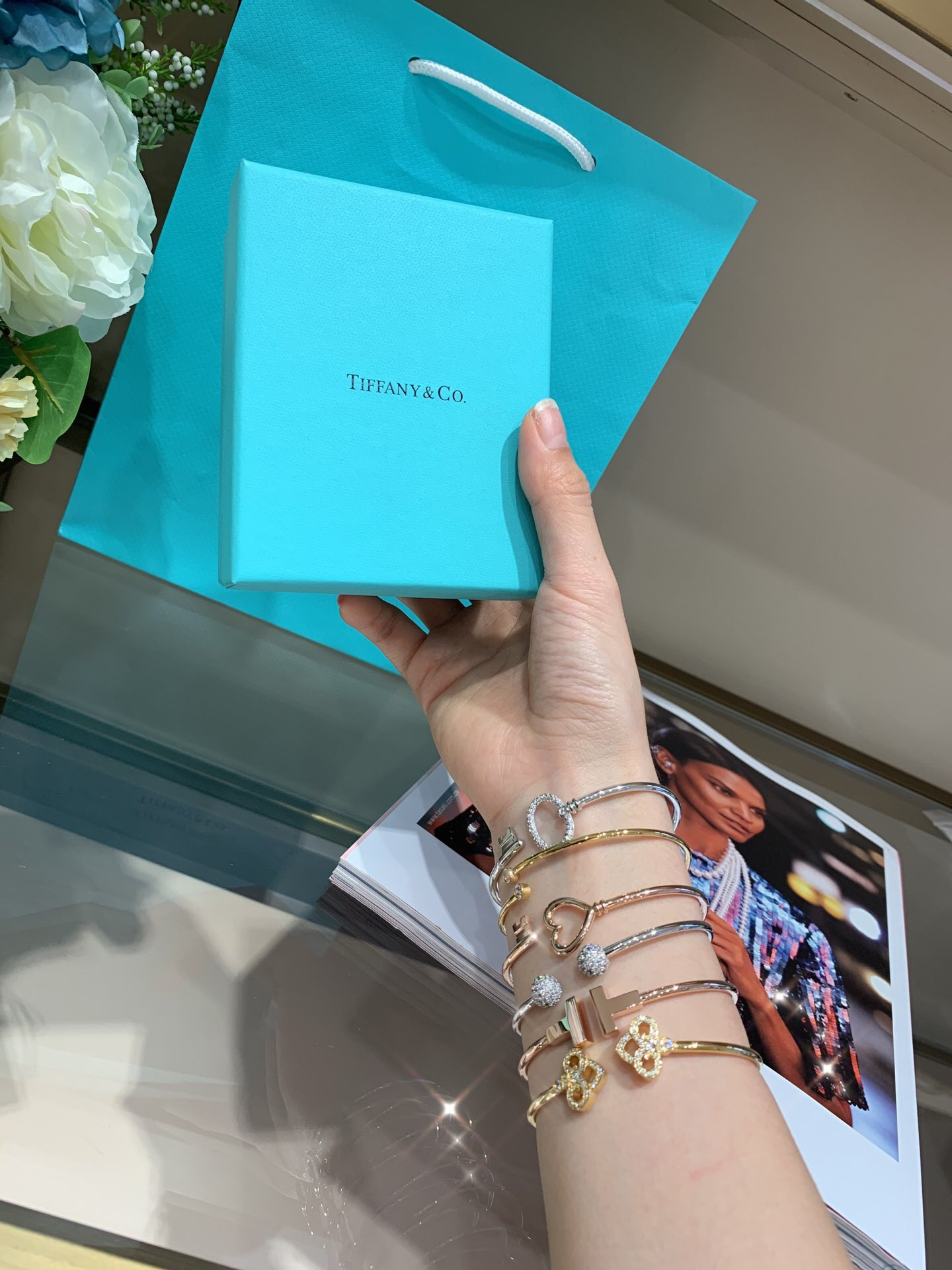 Create your own bracelet stack with delicate Tiffany bracelets