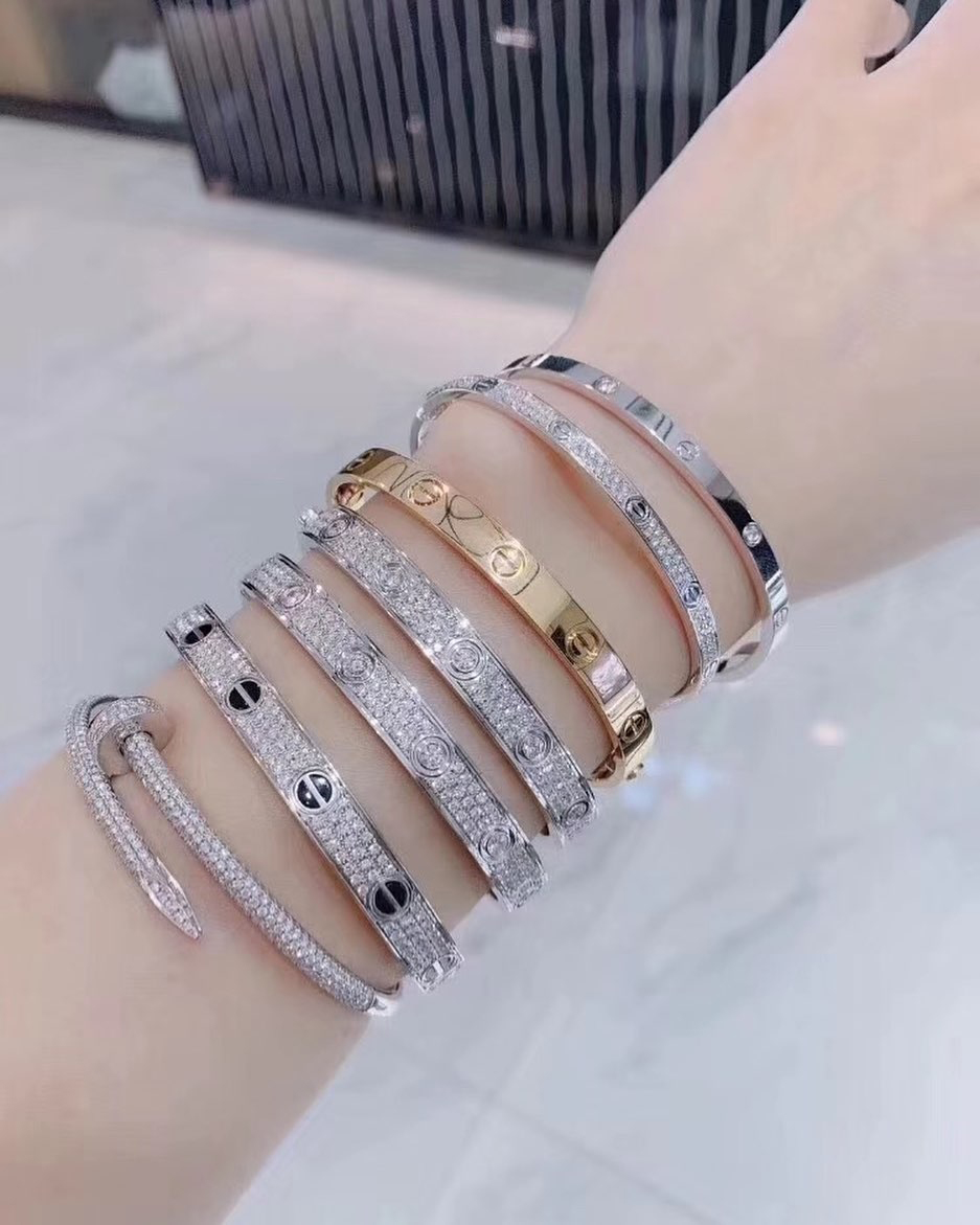 The Most Amazing Bracelet Stacks: Diamond Cartier love Bracelet and  Juste un Clou Bracelet