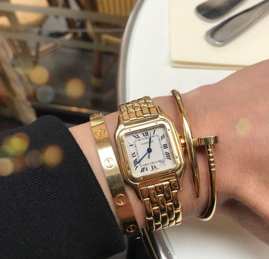 Stacking Cartier love bracelet, Panthere De Cartier Watch and Cartier Juste un Clou Bracelet