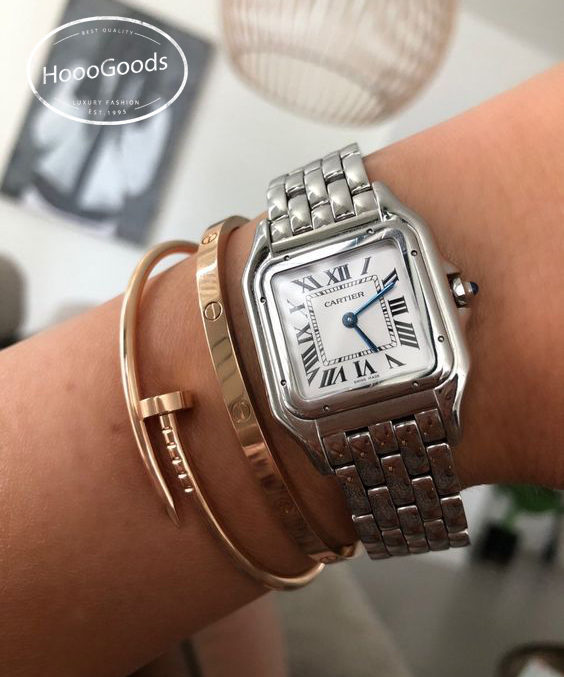 Stacking Thin Cartier love bracelet, Cartier Juste un Clou Bracelet and Panthere De Cartier Watch