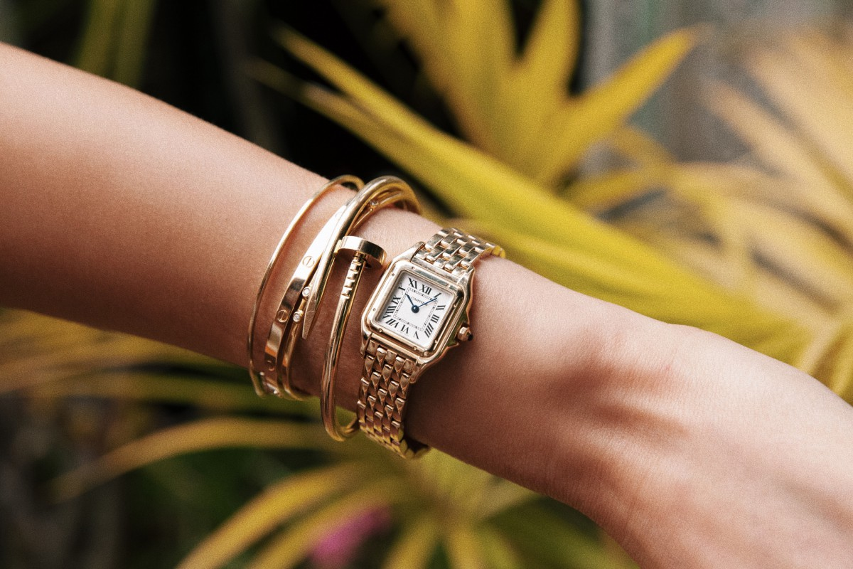 Panthere de Cartier watch stack thin Cartier love and juste un Clou bracelet